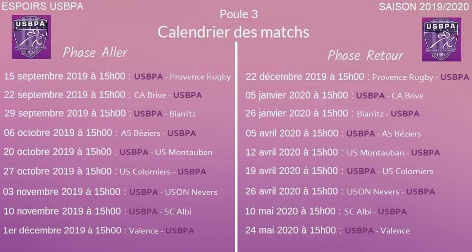 Uson Calendrier.Espoirs Usbpa Rugby Usbpa Rugby Bourg En Bresse Ain